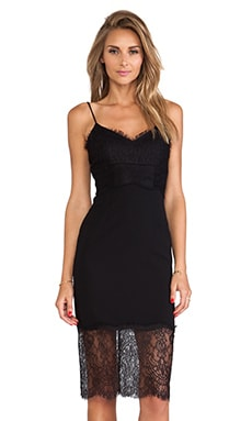 NICHOLAS Lace & Silk Cami Dress in Black