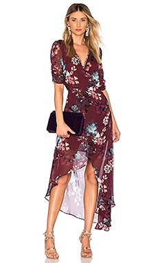 c45f7d0c9b Burgundy Floral Wrap Dress NICHOLAS 446