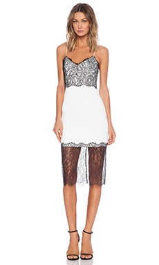 NICHOLAS Lace Trim Dress in White