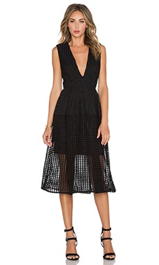 NICHOLAS Grid Lace Deep V Ball Dress in Black
