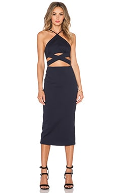 NICHOLAS Ponti Wrap Cross Back Dress in Navy