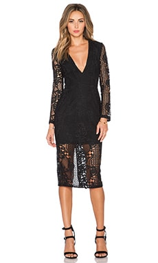 Fleur Lace Deep V Dress in Black