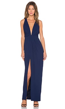 Crepe Deep V Gathered Gown