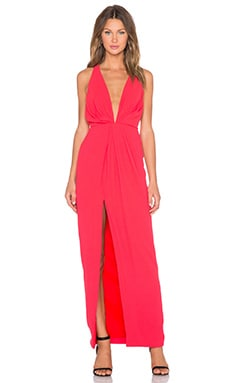 NICHOLAS Crepe Deep V Gathered Gown in Poppy
