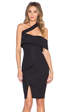 NICHOLAS Textured Ponti Off Shoulder Dress in Black