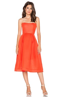 NICHOLAS Mesh Ball Dress in Blood Orange