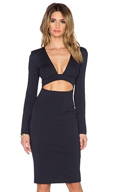 NICHOLAS Ponti Deep V Long Sleeve Dress in Navy