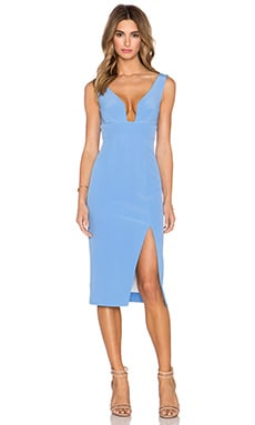 NICHOLAS Bonded Silk Deep U Dress in Cornflower