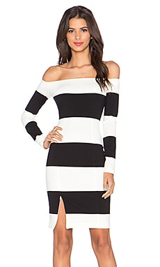 NICHOLAS Orchard Stripe Off Shoulder Long Sleeve Dress in Off White & Black