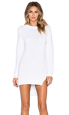 NICHOLAS Rib Knit Dress in White