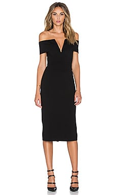 Ponti Shoulder Band V Dress in Black