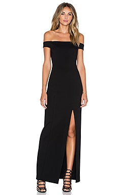 Ponti Shoulder Band Gown in Black