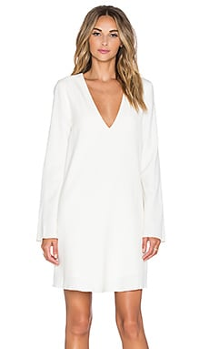 Crepe V-Neck Mini Dress in White