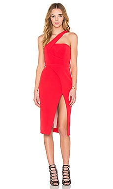 NICHOLAS Tech Bonded Curve Split Dress in Red