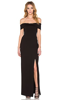Ponti Knot Front Off Shoulder Gown in Black