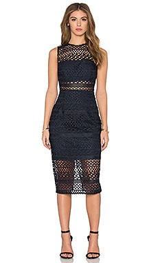 NICHOLAS Braided Lace Fitted Bandeau Dress in Navy