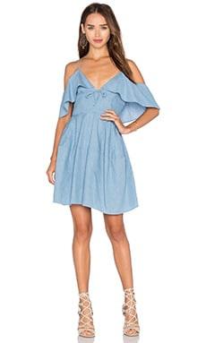 n / nicholas Chambray Deep V Off Shoulder Dress in Light Blue