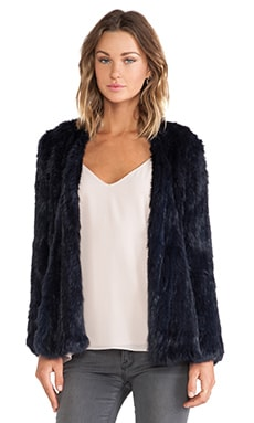 NICHOLAS Knitted Rabbit Fur Jacket in Navy