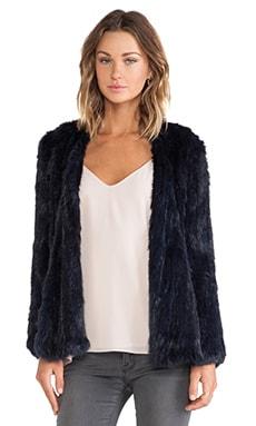 NICHOLAS Knitted Rabbit Fur Jacket in Navy