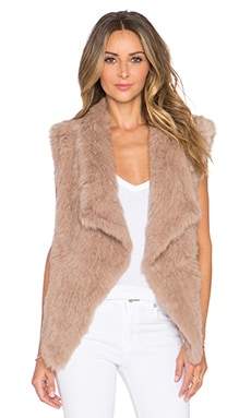NICHOLAS Knitted Rabbit Fur Vest in Taupe