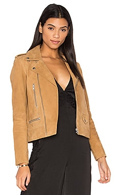 Suede Zip Biker Jacket in Walnut