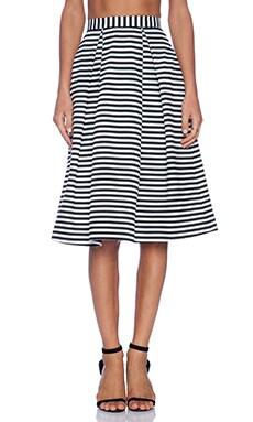 NICHOLAS Stripe Ponti Ball Skirt in White & Black