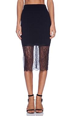 NICHOLAS Lace Trim Skirt in Black