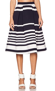 NICHOLAS Positano Stripe Ball Skirt in Navy