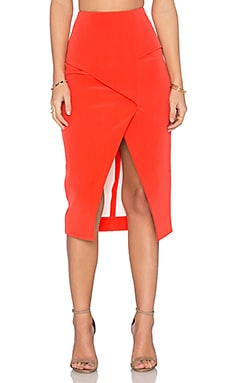 NICHOLAS Technical Bonded Fold Back Skirt in Tangerine