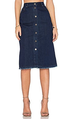 n / nicholas Denim Button Up Skirt in Mid Blue