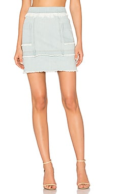 Denim Paneled Skirt en Washed Blue