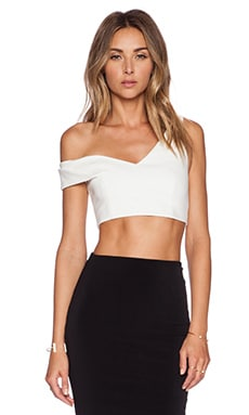NICHOLAS One Shoulder Crop Top in White