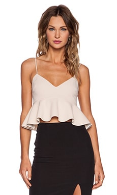 NICHOLAS Crepe V Neck Flared Crop Top in Nude