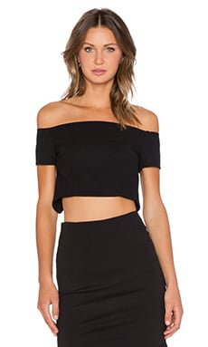 NICHOLAS Double Bonded Off The Shoulder Crop Top in Black