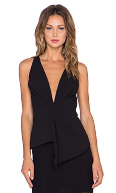 Crepe Deep V Gathered Top en Noir