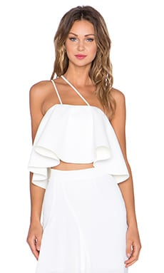 NICHOLAS Crepe Rouleaux Flare Crop Top in White