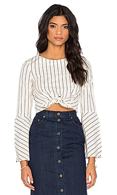 Stripe Tie Front Long Sleeve Top en Ivory