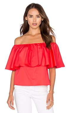 n / nicholas Off Shoulder Ruffle Top in Poppy Red