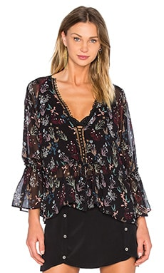 NICHOLAS Drawstring Top in Black Garden Floral