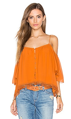 NICHOLAS Georgette Shoulderless Top in Rust