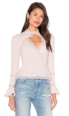 Diamond Cut Out Lace Top en Blush