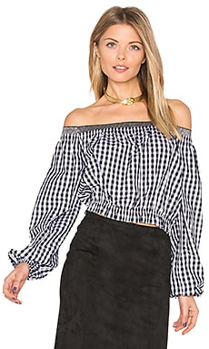 Pintuck Off Shoulder Top en Black & White