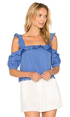 Square Ruffle Top en Cornflower