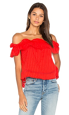 Sofia Ruffle Top in Scarlet