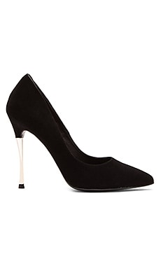 NICHOLAS Ophelie Chrome Suede Pump in Black Suede