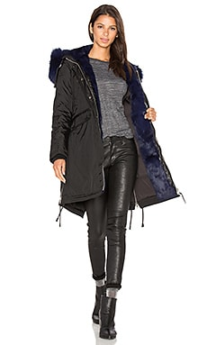 Brera Semi Silver Fox and Asiatic Rabbit Fur Lined Parka in Black & Navy Fur