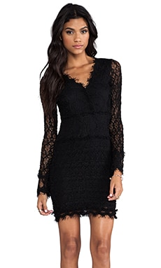Nightcap Florence Lace Deep V Dress in Black