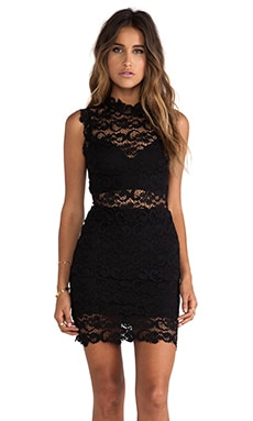 Nightcap Dixie Lace Cutout Dress in Black