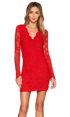 Nightcap Victorian Lace Long Sleeve Dress in Lipstick