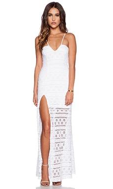 Nightcap Cherokee Stripe High Slit Maxi Dress in White
